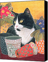 Cats Pastels Canvas Prints -  Bhajii and Flowerpots Canvas Print by Judy Joel