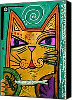 Canvas Mixed Media Canvas Prints -  House of Cats series - Fish Canvas Print by Moon Stumpp