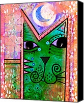 Moon Mixed Media Canvas Prints -  House of Cats series - Moon Cat Canvas Print by Moon Stumpp