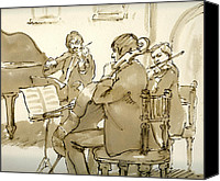 Schubert Canvas Prints -  Original Pen and Ink Drawing Three Musicians in Concert Canvas Print by Thor Wickstrom