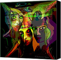 Frightening Digital Art Canvas Prints -  The Demons  Angels  - 214 Canvas Print by Irmgard Schoendorf Welch