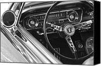 1965 Ford Mustang Canvas Prints - 1965 Shelby prototype Ford Mustang Steering Wheel Canvas Print by Jill Reger