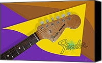 Guitar Headstock Canvas Prints - 1966 Fender Mustang Canvas Print by Arthur Eggers