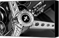 Muscle Car Photo Canvas Prints - 1969 Ford Mustang Mach 1 Steering Wheel Canvas Print by Jill Reger