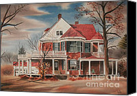 Haunted House Mixed Media Canvas Prints - American Home III Canvas Print by Kip DeVore