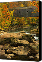Foilage Canvas Prints - Autumn at Bulls Bridge Canvas Print by Karol  Livote