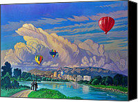 Balloon Fiesta Canvas Prints - Ballooning on the Rio Grande Canvas Print by Art West
