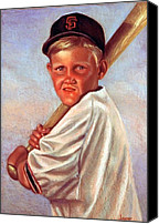 Baseball Pastels Canvas Prints - Batter up Canvas Print by JAXINE Cummins