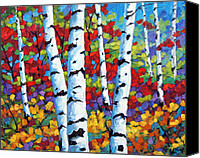 Quebec Painting Canvas Prints - Birches in abstract by Prankearts Canvas Print by Richard T Pranke