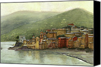 Nan Wright Canvas Prints - Camogli Italy Canvas Print by Nan Wright
