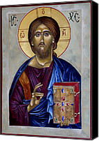 Egg Tempera Digital Art Canvas Prints - Christ Pantocrator Canvas Print by Mary jane Miller