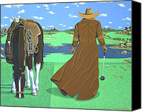 Arizona Golfer Canvas Prints - Cowboy Caddy Canvas Print by Lance Headlee