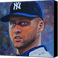 Baseball Painting Canvas Prints - Derek Jeter Canvas Print by Shirl Theis
