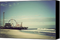 Sand Canvas Prints - Funtown Pier - Vintage Canvas Print by Terry DeLuco