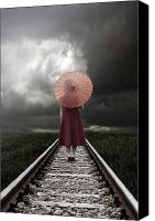 Joana Kruse Canvas Prints - Girl On Tracks Canvas Print by Joana Kruse