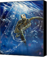 Jellyfish Painting Canvas Prints - Honus Dance Canvas Print by Marco Antonio Aguilar