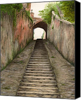 Nan Wright Canvas Prints - Italian Walkway Canvas Print by Nan Wright