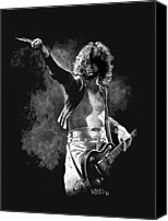 Rocker Canvas Prints - Jimmy Page Canvas Print by William Walts