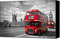 Attraction Digital Art Canvas Prints - London - Houses of Parliament and Red Buses Canvas Print by Melanie Viola
