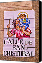 Saint Christopher Canvas Prints - Madrid Street Sign Canvas Print by David Pringle