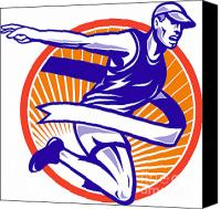 Jogging Canvas Prints - Male Marathon Runner Running Retro Woodcut Canvas Print by Aloysius Patrimonio