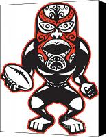 Player Canvas Prints - Maori Mask Rugby Player standing With Ball Canvas Print by Aloysius Patrimonio