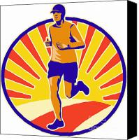 Jogging Canvas Prints - Marathon Runner Athlete Running Canvas Print by Aloysius Patrimonio