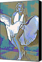 Girl Digital Art Canvas Prints - Marilyn Monroe  Canvas Print by Byron Fli Walker