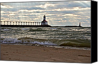 Indiana Dunes Canvas Prints - Michigan City Indiana lighthouse Canvas Print by Lynne Dohner