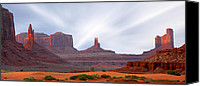 Desert Digital Art Canvas Prints - Monument Valley at Sunset Canvas Print by Mike McGlothlen
