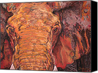 Elephant Pastels Canvas Prints - Mud Elephant Canvas Print by Jan Fontecchio Perley