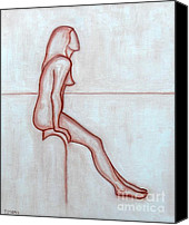 Abstraction Drawings Canvas Prints - Nude 2 Canvas Print by Patrick J Murphy
