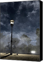 Lamppost Canvas Prints - Ominous Avenue Canvas Print by Cynthia Decker