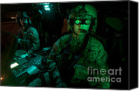 Featured Canvas Prints - Pilots Equipped With Night Vision Canvas Print by Terry Moore