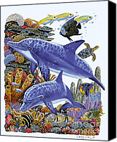 Whale Painting Canvas Prints - Porpoise Reef Canvas Print by Carey Chen