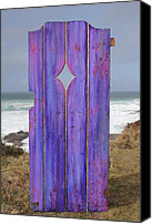 Old Sculpture Canvas Prints - Purple Gateway to the Sea Canvas Print by Asha Carolyn Young