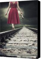Barefoot Canvas Prints - Railway Tracks Canvas Print by Joana Kruse