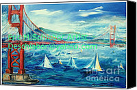Landscapes Drawings Canvas Prints - San Francisco Golden Gate Bridge Canvas Print by Eric  Schiabor
