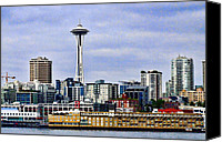 Seattle Waterfront Canvas Prints - Seattle Waterfront Canvas Print by Ron Roberts