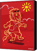 Boy Room Art Canvas Prints - skateboarding Lion  Canvas Print by Martin Davey