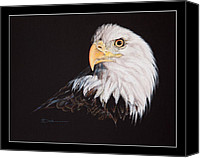 Greeting Card Pastels Canvas Prints - Spirit Bald Eagle Canvas Print by Mary Dove