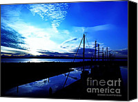 Transportation Glass Special Promotions - Sunset at Edmonds Washington Boat Marina Canvas Print by Eddie Eastwood