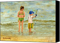 Little Boy Canvas Prints - The Little Fisherman Canvas Print by Vicky Watkins