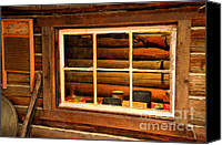Cabin Window Canvas Prints - Tucked In Canvas Print by Lauren Hunter