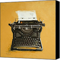 Typewriter Painting Canvas Prints - Underwood typewriter Canvas Print by Patricia Cotterill