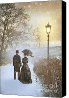 Men Conversing Canvas Prints - Victorian Couple Parting In Mist And Snow Canvas Print by Lee Avison