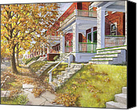 Fall Leaves Canvas Prints - View Up the Street Canvas Print by Edward Farber