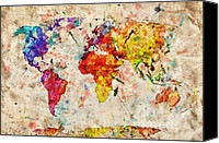 Abstract Map Photo Canvas Prints - Vintage world map Canvas Print by Michal Bednarek