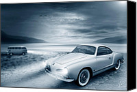 Vw Camper Van Digital Art Canvas Prints - Volkswagen Karmann Ghia Canvas Print by Linton Hart