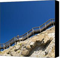 Tim Hester Canvas Prints - Woman Climbing Stairs Canvas Print by Tim Hester